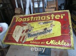 Vintage Metal Sign NICKLES BAKERY WHITE TOASTMASTER BREAD Store Display