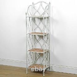 Vintage Style White Distressed Wood 4 Tier Storage Open Display Shelf Rack Unit