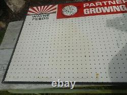 Vintage WAYNE FEEDS COW PIG CHICKEN Advertising PEG BOARD Store Display SIGN