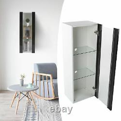Wall Display Cabinet Glass Door 3 Tiers Bathroom Storage Shelves With LED Lights