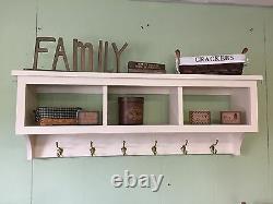 Wall Shelf Coat Rack 42 Wide with Storage 3 Cubbies Display Rack