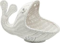 Whimsical Whale Storage Basket Display White Rattan Wicker Coastal Beach Decor