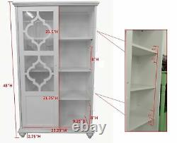 White Barrister Glass Door Bookcase Wood Cabinet Curio Display Dining Storage