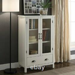 White Finish Wood China Hutch Curio Cabinet Kitchen Storage Cupboard Glass Doors