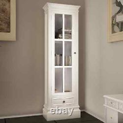 White Glass Cabinet Display Door Drawer Storage Books Shelf Bookcase Office