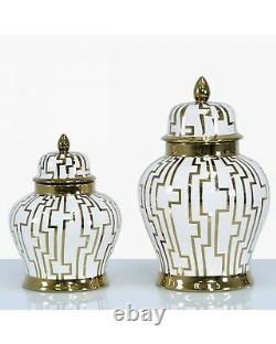 White Gold Ginger Jar Storage Decor Display Lattice Home Decoration Vase Lid