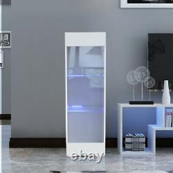 White High Gloss Glass Display Cabinet Blue LED Light Sideboard Storage Shelves