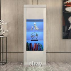 White High Gloss Tall Display Cabinet Storage Unit Cupboard with LED Light 170CM