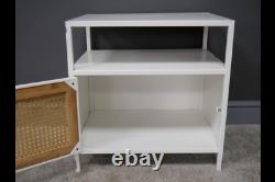 White Metal And Rattan Bedside Table 1 Door Storage Cabinet Side Display Unit