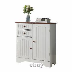 White & Walnut Wood Kitchen Storage Buffet Display Cabinet With Storage Drawe