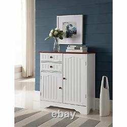 White Walnut Wood Kitchen Storage Buffet Display Cabinet with Storage Drawers