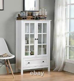 White Wood China Hutch Curio Cabinet Kitchen Storage Display Glass Door Cupboard