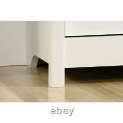 White Wooden 5 Shelf Bookcase with Doors Library Bookshelf Hidden Storage Display