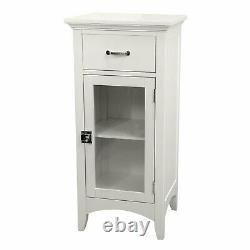 White Wooden Floor Cabinet Bath 2 Shelf Tier Towel Storage Door Bathroom Tower