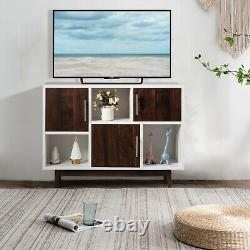Wood Display Storage Cabinet Console Table TV Stand Multipurpose with Door & Shelf
