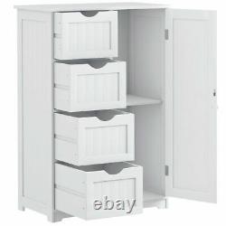 Wooden 4 Drawer Free Standing Storage Cabinet Floor Display Cupboard 2 Shelves