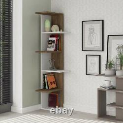 Wooden Modern Corner Bookcase Shelves Living Room Storage Free Standing Display