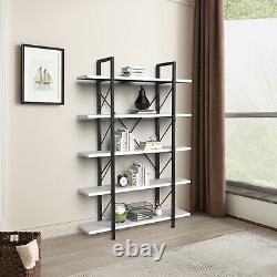YITAHOME 5 Tier Wood Bookcase Storage Shelving Wide Bookshelf Display Rack White