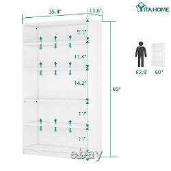 YITAHOME Bookshelf Bookcase 5-Shelf Wide Storage Display Adjustable Shelving