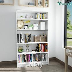 YITAHOME Bookshelf Bookcase Wood 5-Shelf Wide Storage Display Adjustable White