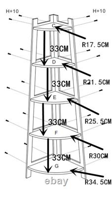10% Off Ladder Corner Bookcase Shelving Rack Display Organisateur Stockage H413-5w