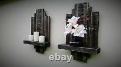 2 Rustique Reclaimed Floating Wall Shelf Sconce Storage Art Display Unit Meubles