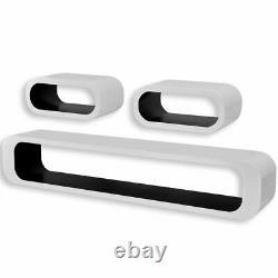 3 Blanc-noir Mdf Floating Wall Display Shelf Cubes Book/dvd Storage