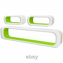 3 Blanc-vert Mdf Floating Wall Display Shelf Cubes Livre / DVD Stockage