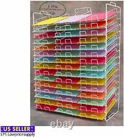 45 Fente 8 1/2 X 11 Scrapbooking Paper Wire Storage White Display Rack
