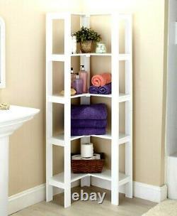 5 Ft. White Wooden Corner Shelf Unit Cabinet Organizer Display Storage Bookshelf