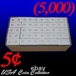 (5000) Nickel Size 2x2 Mylar Carton Pièces Flips Pour Le Stockage - Affichage 5 Cent
