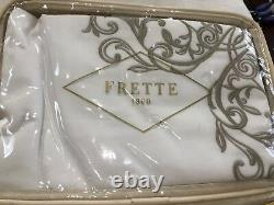 550 $ Frette Italie Nouveau 2pc Euro Shams Granada Natural Store Display Broderie