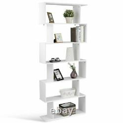 6 Tier S-shaped Bibliothèque Z-shelf Style Stockage Affichage Bibliothèque Moderne En Bois