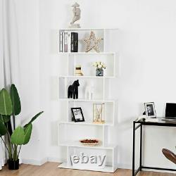 6 Tier S-shaped Bookcase Modern Storage Display Z-shelf Style Bookshelf Blanc