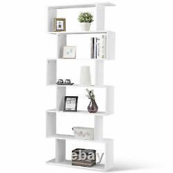 6 Tier S-shaped Bookcase Z-shelf Style Storage Display Modern Bookshelf Blanc