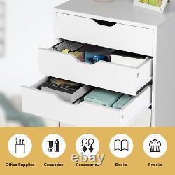 7 Tiroir Commode Coffre Rangement Armoire Affichage Organisateur Accueil Roues Blanc