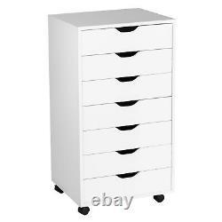 7 Tiroir Dresser Chest Mobile Storage Cabinet Display Organizer On Wheels Blanc