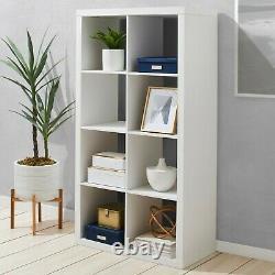 8 Cube Bookshelf Rack Bookcase Shelving Stand Storage Display Book Shelves Blanc