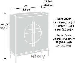 Armoire D'affichage Moderne Accent D'affichage Porte En Verre Insérer Étagère En Verre Un Tiroir