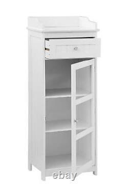 Armoire D'affichage Moderne Shabby Meubles Chics White Glass Door Slim Storage Unit