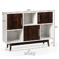 Armoire De Rangement D'affichage En Bois Console Table Tv Stand Polyvalent Avec Porte Et Plateau