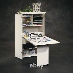 Artisanat Blanc Antique Table Armoire Armoire De Garde-meubles Pliant Couture Bureau