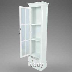Bibliothèque Cabinet Display Storage Glass Door Drawer Furniture Living Room White