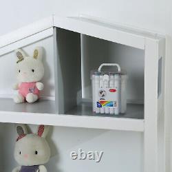 Bibliothèque D'affichage De Stockage Multimédia En Bois 3-shelf Blanc Gris / Rose