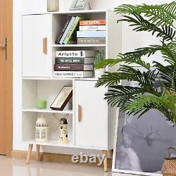 Bibliothèque En Bois Moderne Étagères D'affichage Surélevées Étagères Armoire Blanche