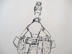Bonnie Cashin Coach Store Noir & Blanc Affichage Mode Sketch Imprimer Matted 20