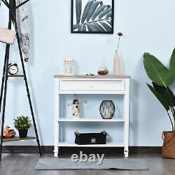 Console De Style Rustique Table De Rangement Compacte Étagères D'affichage Hallway Blanc