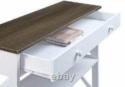 Contemporain 1 Table De Console À Tiroirs 3 Niveaux Étagère De Rangement En Bois Blanc