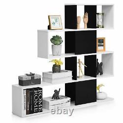 Costway 5-tier Bibliothèque Corner Ladder Bibliothèque Display Storage Rack Blanc Noir