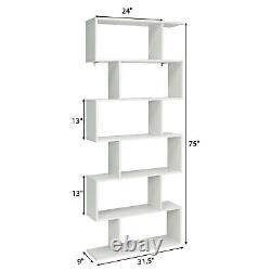 Costway 6 Tier S-shaped Libraryhelf Display Library Decor Z-shelf White